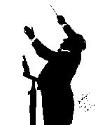 silhouette of Wagner conducting
