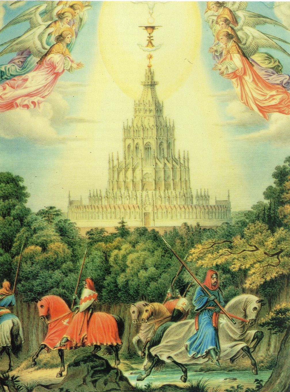 Image: Grail Castle in the midst of a forest. Cover of King Ludwig's Diary