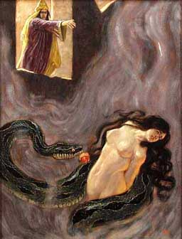 Klingsor and Kundry with serpent and apple. Oil painting by Franz Stassen