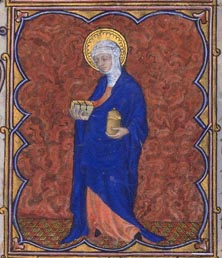 Medieval manuscript illumination showing Mary Magdalen with book and alabaster jar. One is reminded of the jar of balsam than Kundry carries
