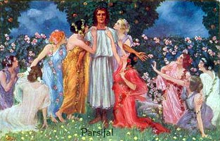 Postcard showing Parsifal with the Flower Maidens
